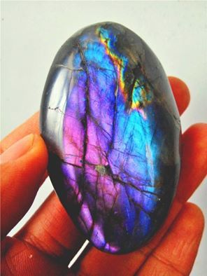 Exquisite color combination in this polished Labradorite from Madagascar.