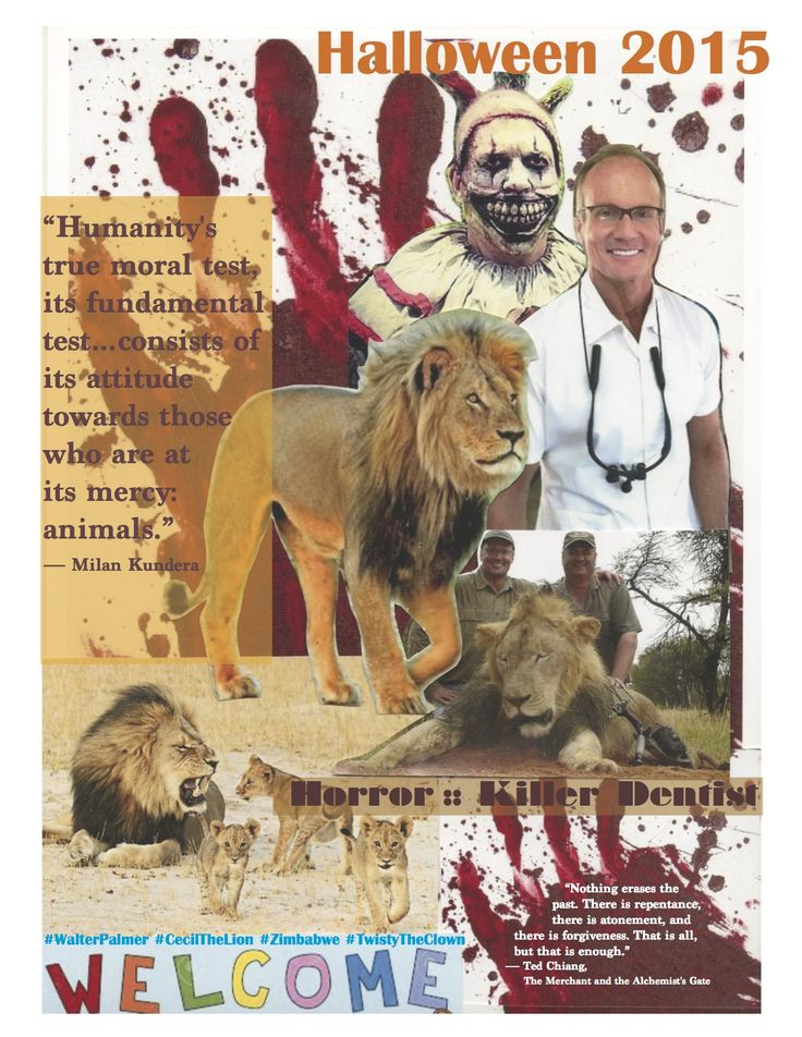 Out of darkness light and learning may emerge.  Walter Palmer, use this travesty to atone.  Become an animal rights activist.  Use your dental wealth to preserve and protect animals.  #WalterPalmer #CecilTheLion #Zimbabwe #TwistyTheClown #avantinatural #MarkCleveland #atonement #redemption #bethechange #forgiveness #remember