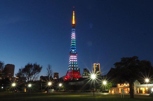 東京タワーライトアップ!クリスマスでなくラクビーね #ラグビーワールドカップ2019 #東京タワー #OLYMPUS #OLYMPUSOMDEM10