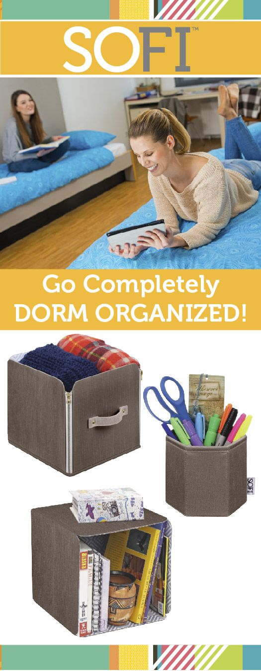 Go completely dorm organized with SOFI™! The style smart closet or dorm room organization system featuring foldable storage baskets, or cubes, perfect for all storage needs. 8 different products to choose from to make your own, personalized system! #SOFIStyle