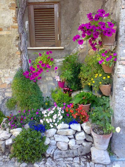 a corner flower garden
