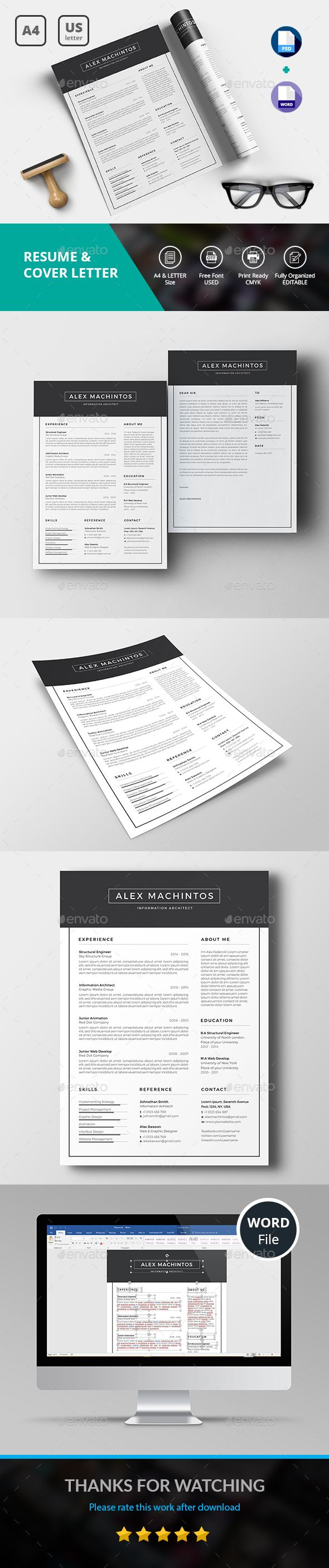 Resume/CV Template PSD, MS Word A4 and Us Letter Paper