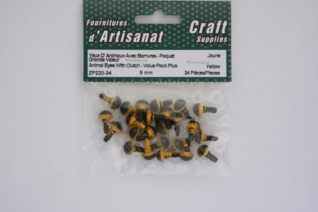 ZP220-34 Animal Eyes With Clutch 9 mm. Yellow 12 Pieces