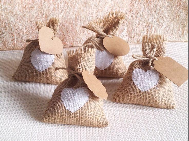 Pas cher 2015 nouvelle année sac de bonbons de mariage avec DIY kraft tag/toile…