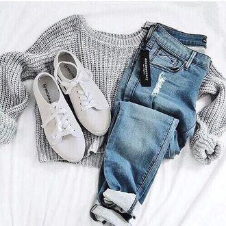 jeans jumpsuit shoes shirt grey long sleeves sweater grey sweater white shoes casual top tumblr tumblr outfit cute outfits aesthetic fall outfits oversized sweater fall sweater tumblr sweater cropped sweater grey crop sweater gray crop sweater crop tops