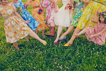 I really love these dresses and the different personalities.: Floral Bridesmaid Dresses, Bride Maids Dresses, Vintage Bridesmaid, Vintage Floral, Vintage Sheet, Vintage Inspiration, Bridemaid, Floral Dresses, Teas Dresses