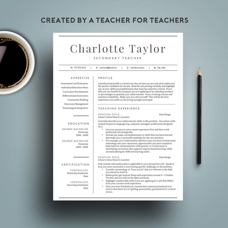 Check out our 2 page teacher resume template for word created for teachers and designed by a teacher! Perfect for secondary or elementary teachers and anyone working in the field of education! We know just how difficult it can be to land a teaching job these days. With such