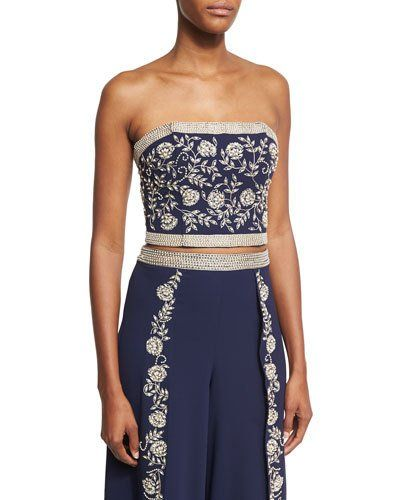 Saraphina Embroidered Strapless Crop Top, Blue