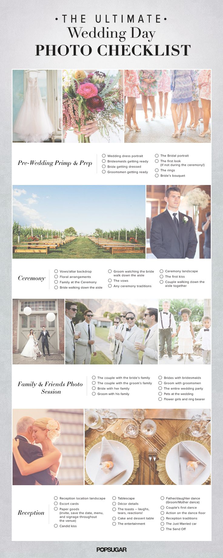 My advice - DEFINITELY make a list of photos that you want. Make sure the photographer understands...drill it! You won't regret it. Spend the money on a professional photographer...it will be money well spent. The Ultimate Wedding Day Photo Checklist — hand this to your photographer!
