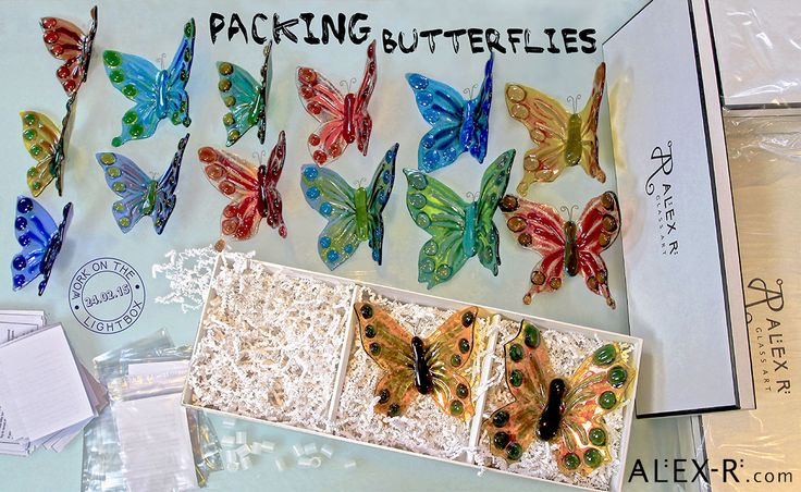 Behind the scenes at the Glass Studio. Work on the lightbox 24.02.15: Packing Butterflies for an order