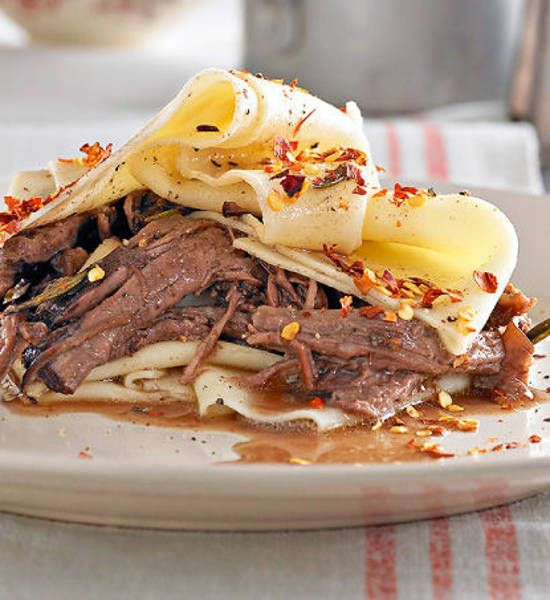 Past with Slow Cooked Beef in Red Wine