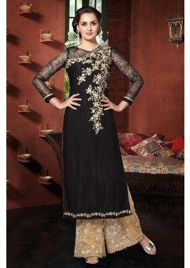 georgette noir costume Anarkali, - 158,00 €, #Robeindienne #Tenueindienne #Tenuepakistanaise #Shopkund