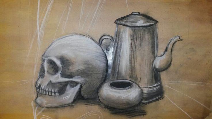 School still life with skull