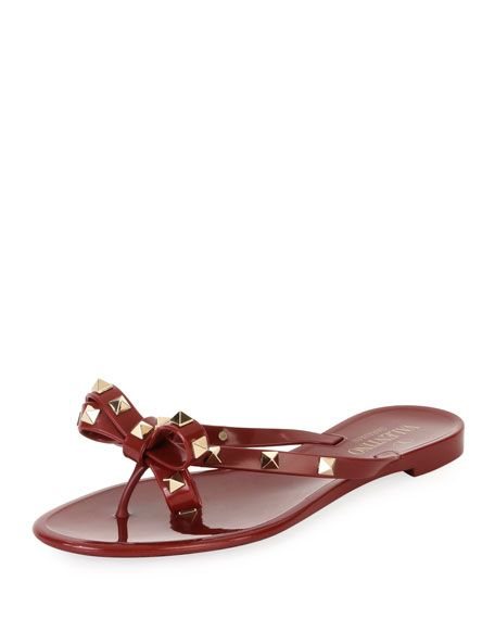 2acb86508d180 VALENTINO Jelly Rockstud Flat Thong Sandal, Dark Red. #valentino #shoes #    Valentino   Rockstud flats, Valentino rockstud flats, Sandals