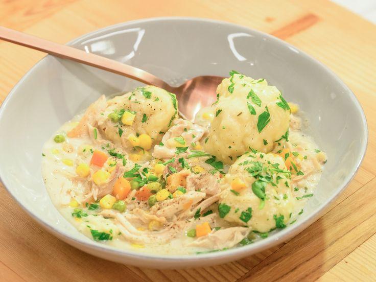 Creamy Chicken and Dumplings Food Network Katie Lee's in Dutch oven