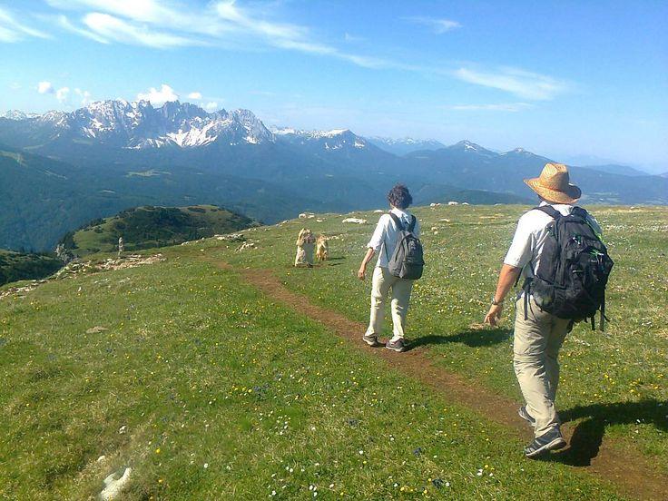 Dolomiterna är böljande alpängar och kaxiga berg. Vi tar vandringsskorna och linbanan till ett världsarv där Italien möter Österrike, och ljuv romantik uppstår.