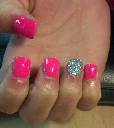 Neon pink with bling painted acrylic nails