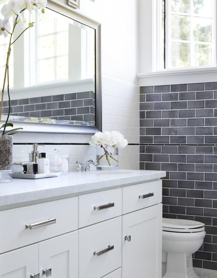 Bathroom - hardware, grey tile, vanity
