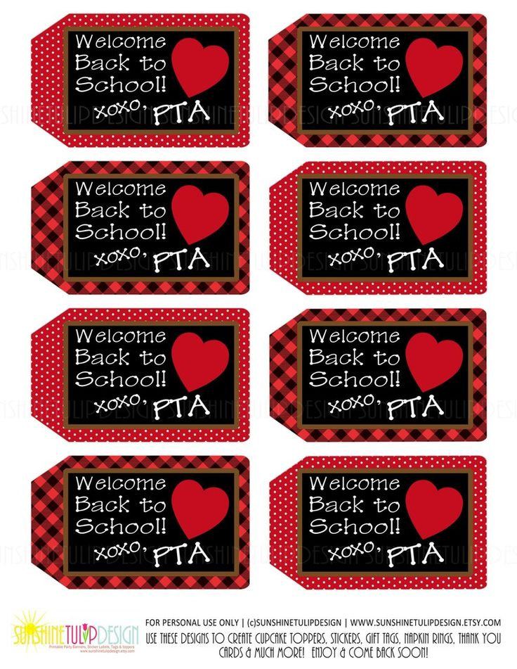 Printable PTA Tags, Welcome Back to School Teacher Appreciation Tags by SUNSHINETULIPDESIGN