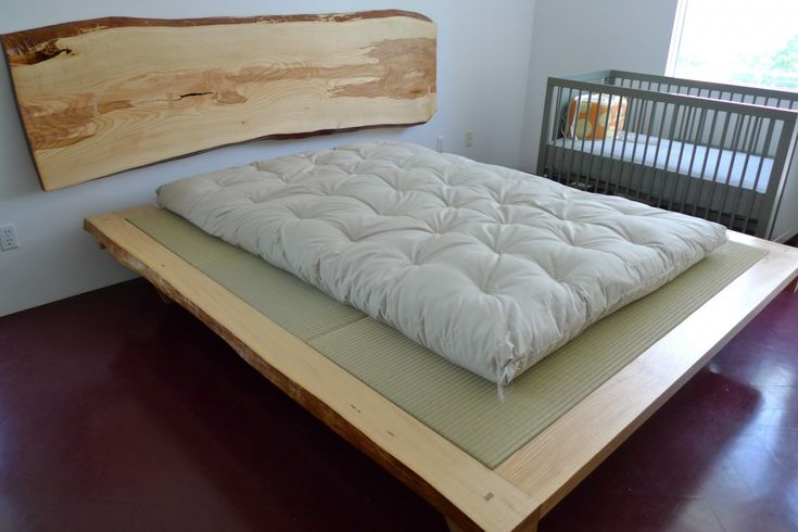 Ash Wood Slab Headboard + King Size Tatami Platform With Queen Futon