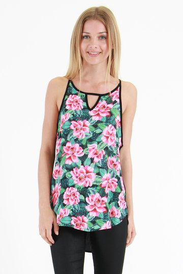 You may have heard of that mega babe - AKA you. Totally. An absolute babe dressed to the nines in Jorge's equally babe-lish Mambo Cami. Floral at the front, it's plain at the back, with an unusual V-detail binding across the neckline.
