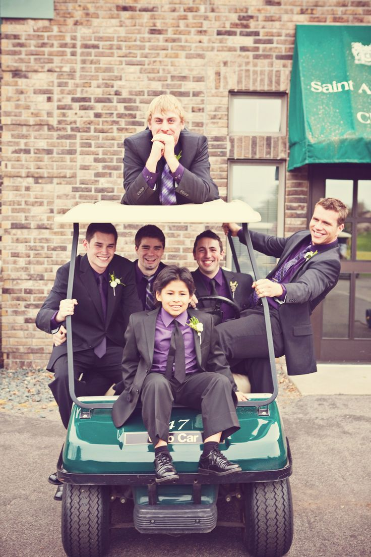 Groomsmen on the golf cart! Might do this with a 4 wheeler or truck!