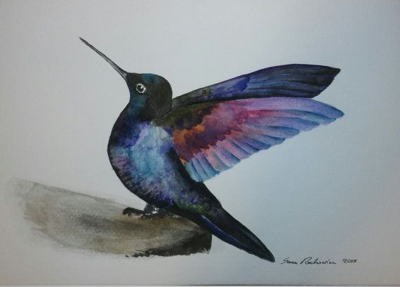 Hey, I found this really awesome Etsy listing at https://www.etsy.com/listing/255067762/hummingbird-original-watercolor-painting