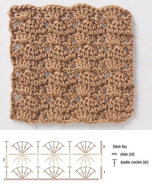 crochet stitch: stacked cluster Knit and Crochet Pinterest