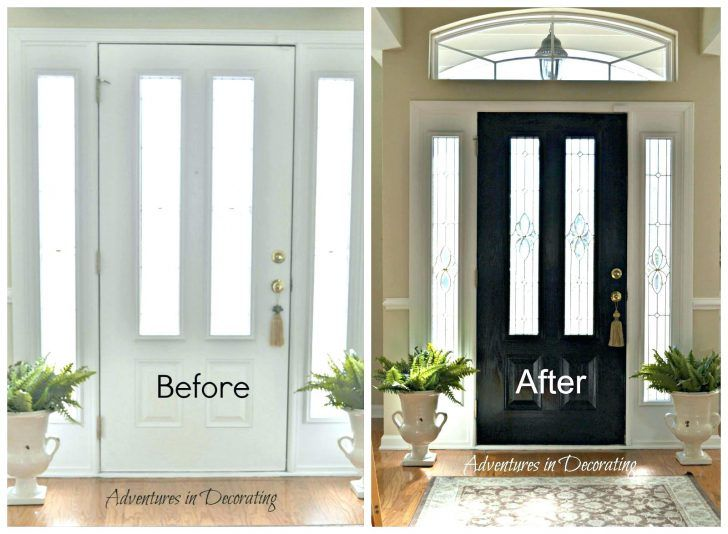 Paint Wood Front Door Black Glass Long Shared Painted Grain Matte ...