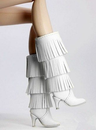 barbie Doll shoes white tassel boots