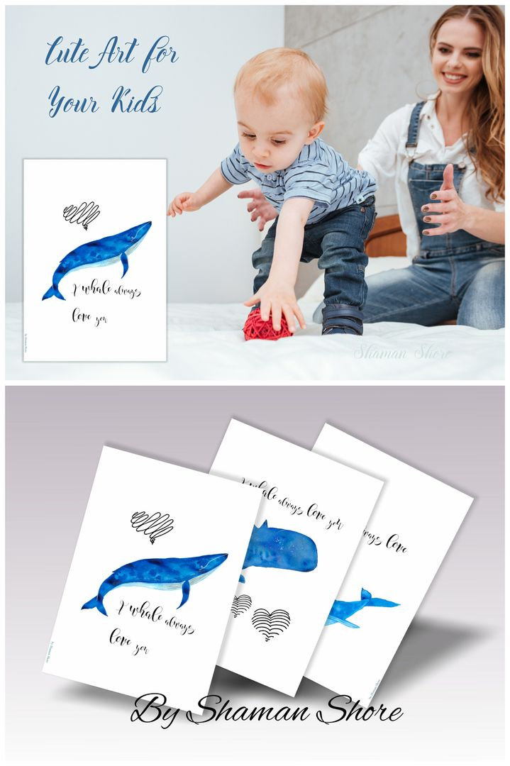 Click to shop now or Save to view later! Whales Print Art, Whale Prints Nursery Print Set, Whale Decor Nursery, Sea Animals Baby Whale Print Set, Baby Shower Gift Whale Paintings Digital.