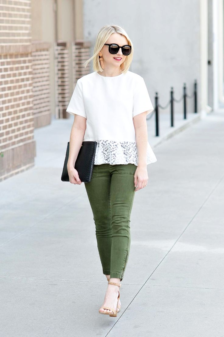 Cathy is bringing back the cargo pant! Today, she shows how to dress them up with the help of this white peplum top with lace detailing!