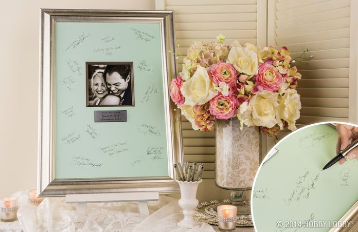 This modern twist on the guest book continues to be a favorite with brides. Do you prefer the wedding signature mat or the traditional guest book?