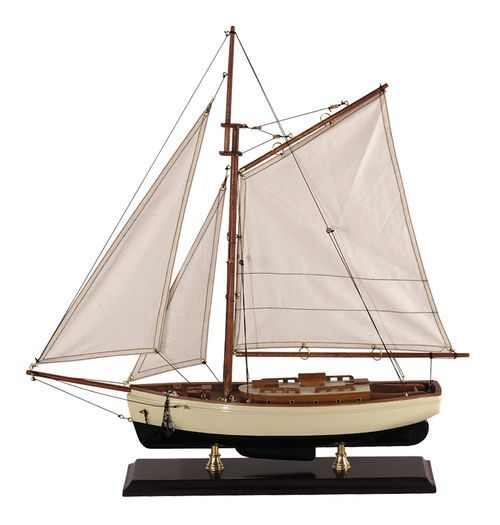 """Nautical 1930s Classic Yacht Small Wooden Model Sailboat 22"""""""""""
