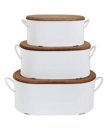 threepiece lidded metal storage bins