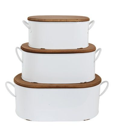 threepiece lidded metal storage bins zulilyfinds - Metal Storage Bins