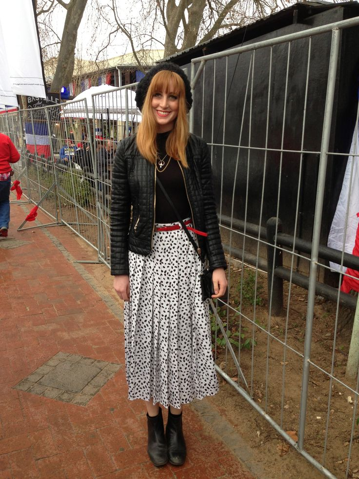 Bastille Day trend. This French inspired outfit really did stand out from the rest. Love the tea length skirt with boots and leather jacket.