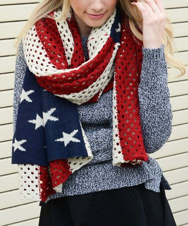 Love this Knit American Flag Blanket Scarf on #zulily, but the grey sweater is a NOT! #zulilyfinds