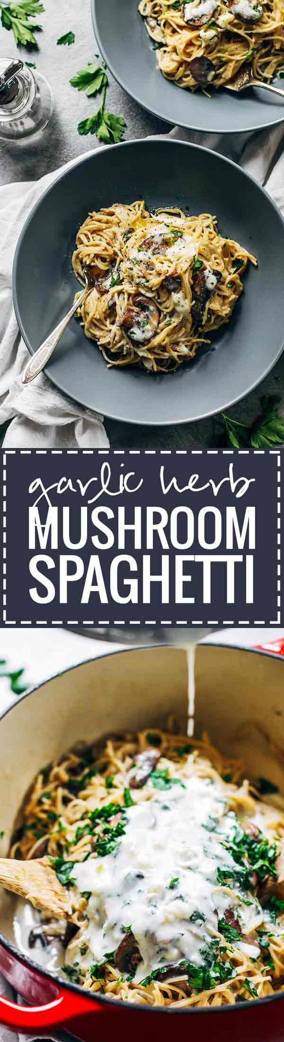 Creamy Garlic Herb Mushroom Spaghetti - this recipe is total comfort food! Simple ingredients, ready in about 30 minutes, vegetarian. ♡ pinchofyum.com: