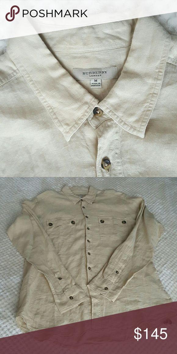 Burberry Mens Linen Shirt (M) NWOT 100% Linen Mens Button Down Shirt Burberry Tops Button Down Shirts