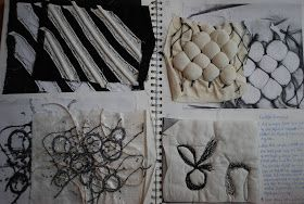 Fashion & Textiles Sketchbook - surface and texture exploration: heat press, machine embroidery and boning