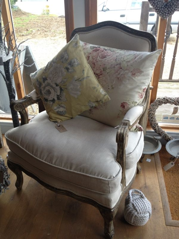 Cushions in Emmeline Yellow and Faded Roses - two of Annie Sloan's gorgeous fabrics