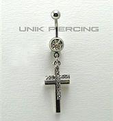 Piercing de nombril  double croix cristal www.unikpiercing.com