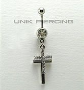 Piercing de nombril  double croix cristal www.unikpiercing.com
