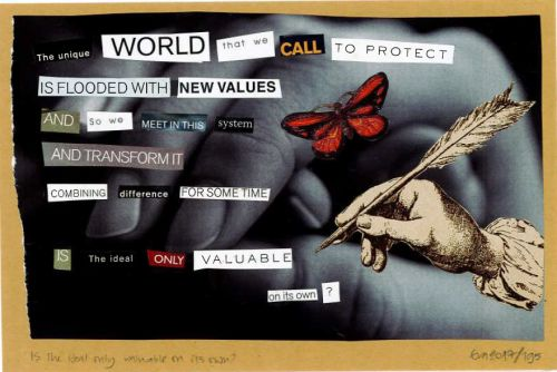 195/365: Is the ideal onöy valuable on its own?, collage on paper, A5.