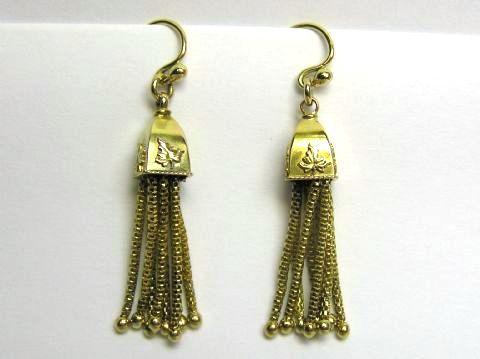 Victorian 9ct tassel drop earrings
