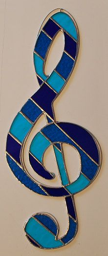 "Stained glass musical note (treble clef) suncatcher wall hanging ""The Blues"""