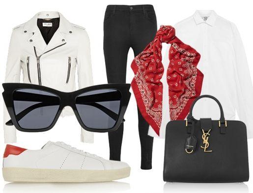 Идеальная база под кожаную косуху - белая рубашка, черные джеггинсы и белые тенниски - особенно, если речь идет о белой косухе. Красная бандана, повязанная на шее как платок, добавит образу парижского шика.