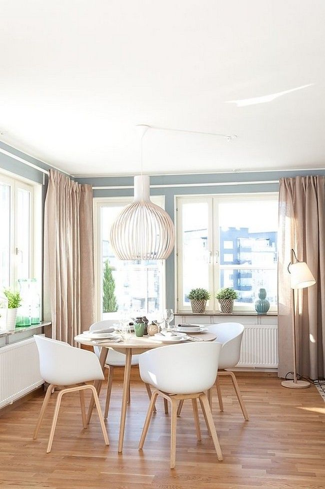 Deluxe Scandinavian Dining Room Design Ideas With Laminated Wooden Flooring And…