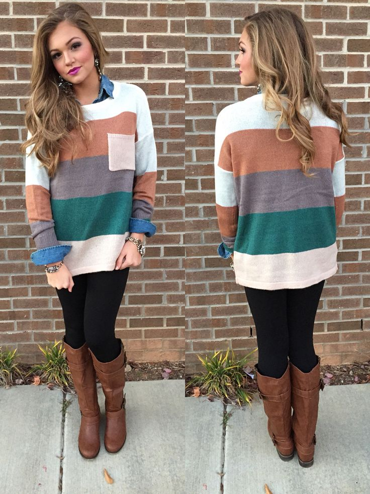 Striped pocket sweater #swoonboutique